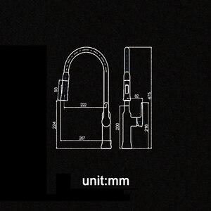 Image 4 - _ 360 Поворотный смеситель с одной ручкой, смеситель для раковины, выдвижной кухонный смеситель, черный и белый, 4 цвета на выбор KF933