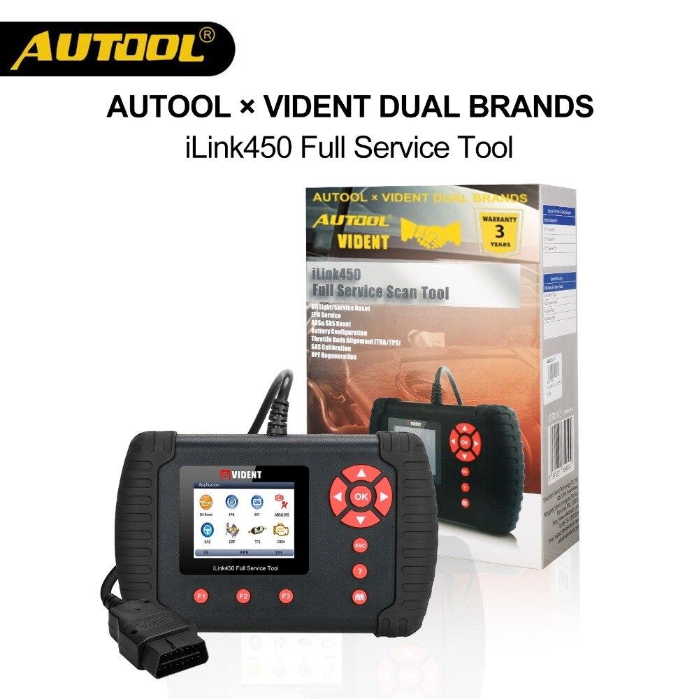 AUOOLxVident iLink450 Car OBD2 Oil ABS Airbag SRS TBA TPS SAS Reset BRT DPF Regeneration Diagnostic EPB Service PK Launch8021
