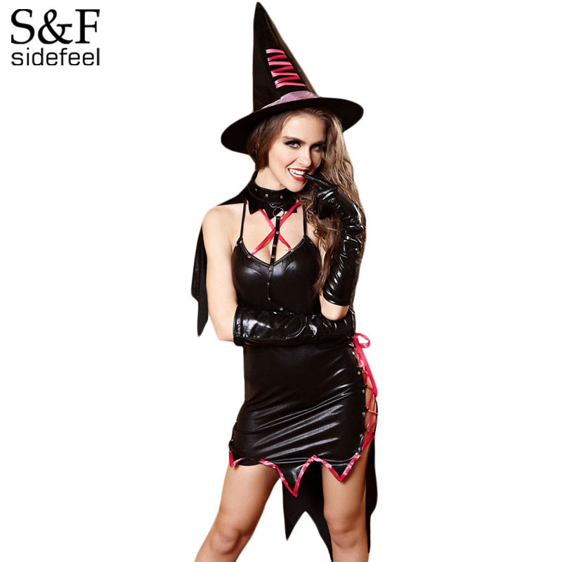 Buy Sidefeel Halloween Lace-up Leatherette Devil Costume LC8905 Sex Costumes Women 2017 New Spring Fantasia Sexual