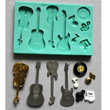 silicone mould Acoustic guitar electric violin, musical note cake decorating fondant / fimo mold