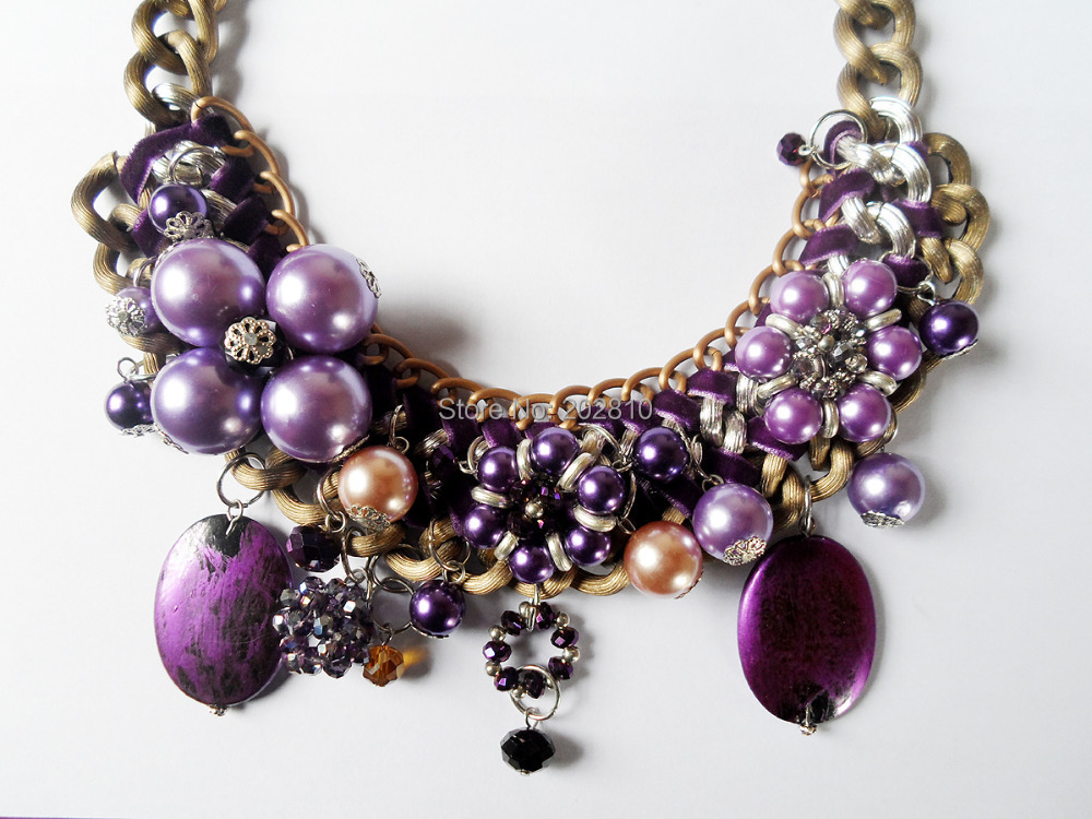 2017 new type purple pearl crystal big chunky rope chokers clavicle necklaces,restoring ancient ways bronze plated necklace