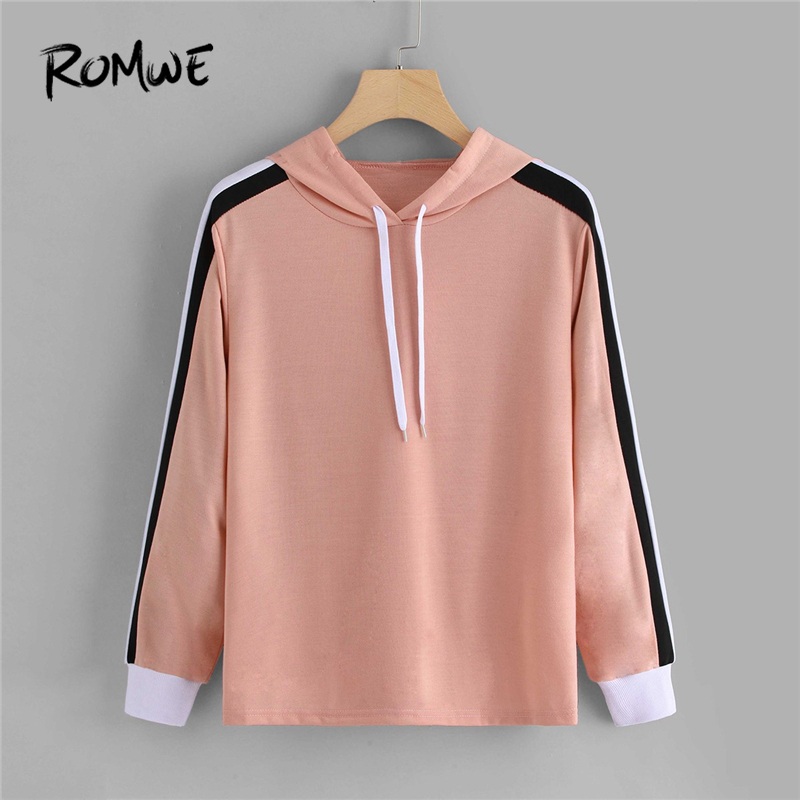 ROMWE Pink Striped Side Hooded Sweatshirt Hoodie Women Clothes 2019 Autumn Womens Fashion Casual Clothing Drawstring Pullovers
