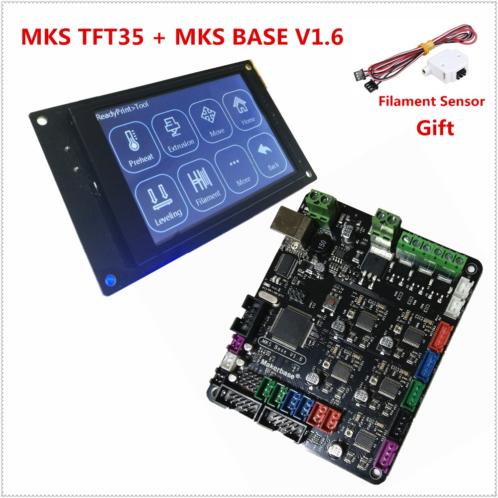 3d printer starter kit mother board MKS BASE V1.6 + MKS TFT35 touch screen all in one controller Reprap control panel Consumable 3d printer kit motherboard mks base mks tft32 touch screen all in one controller starter kits imprimante reprap control panel