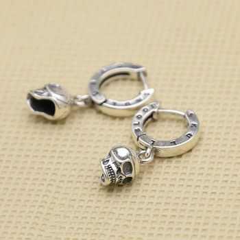 DL S925 sterling silver Trendy skull earrings Punk biker mens for gift E111