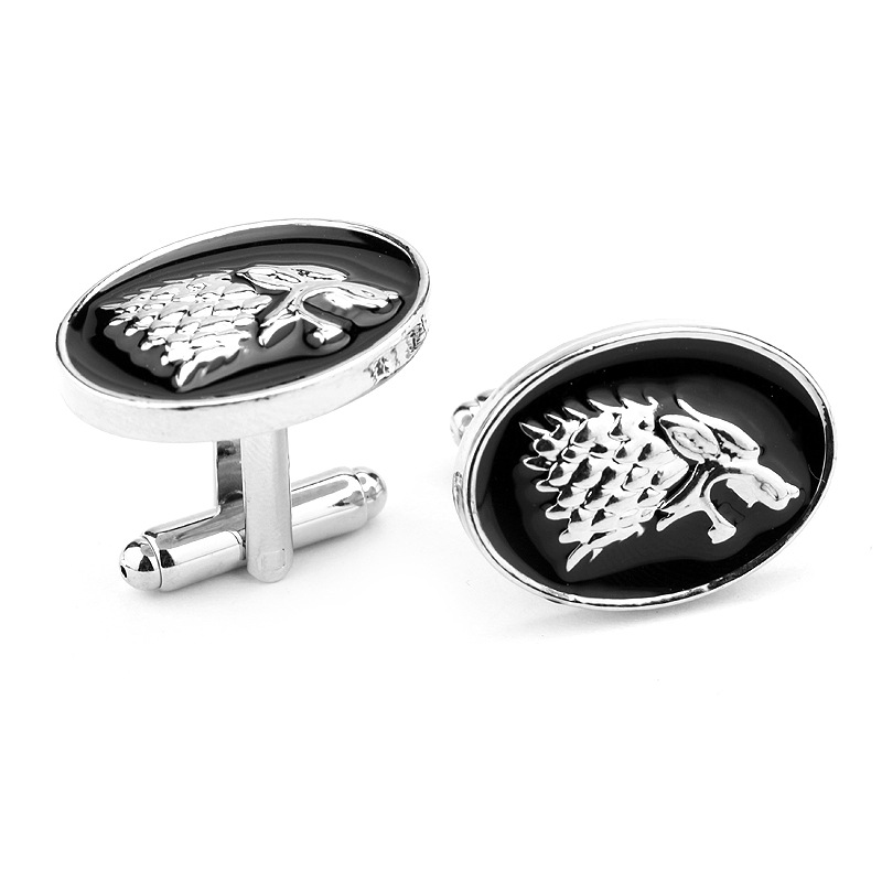 2016 NEW Game of Thrones Sixth Wolf head alloy 2.4X1.7CM Cufflinks for mens Stark cuff buttons anime accessory shirt cuff links