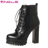 VINLLE 2018 Woman Boots Ankle Boots Ladies Square/ Thin High Heel PU leather Women Shoes Winter Motorcycle Boots Size 34 43