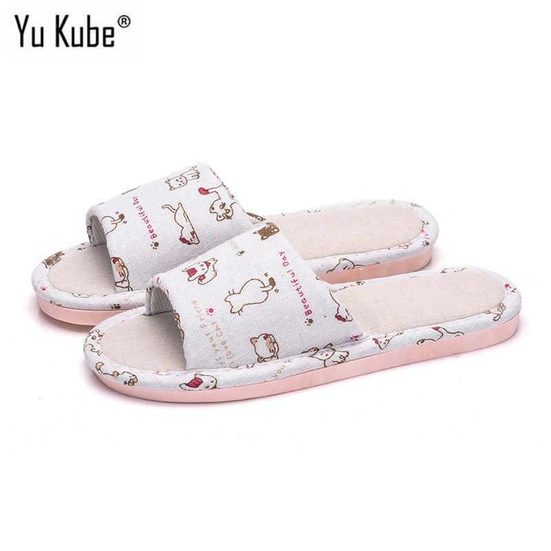 308b02a7de4b0 Yu Kube 2018 Lovely Cotton Linen Floor Slippers Non-Slip Flower Indoor Home  Slippers Slip