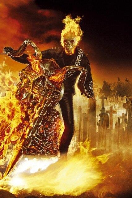 Diy Frame Ghost Rider Action Thriller Movie Film Poster Fabric Silk