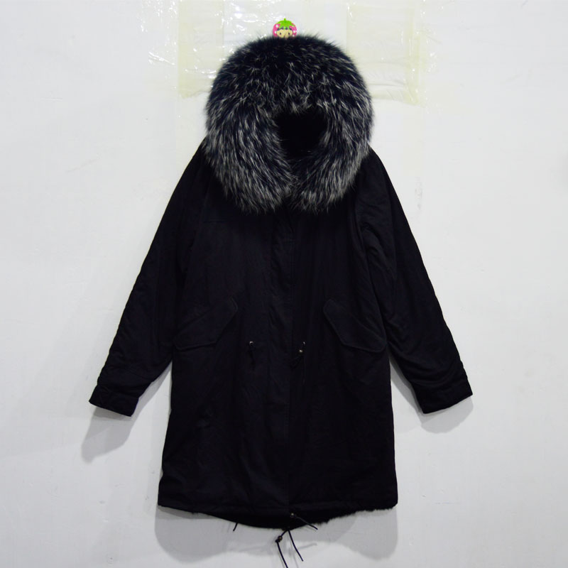 2018 Fashion Long Style Mens Black Rabbit Fur Lined With Huge Raccoon Fur Hoodies Mr Mrs Furs Wear