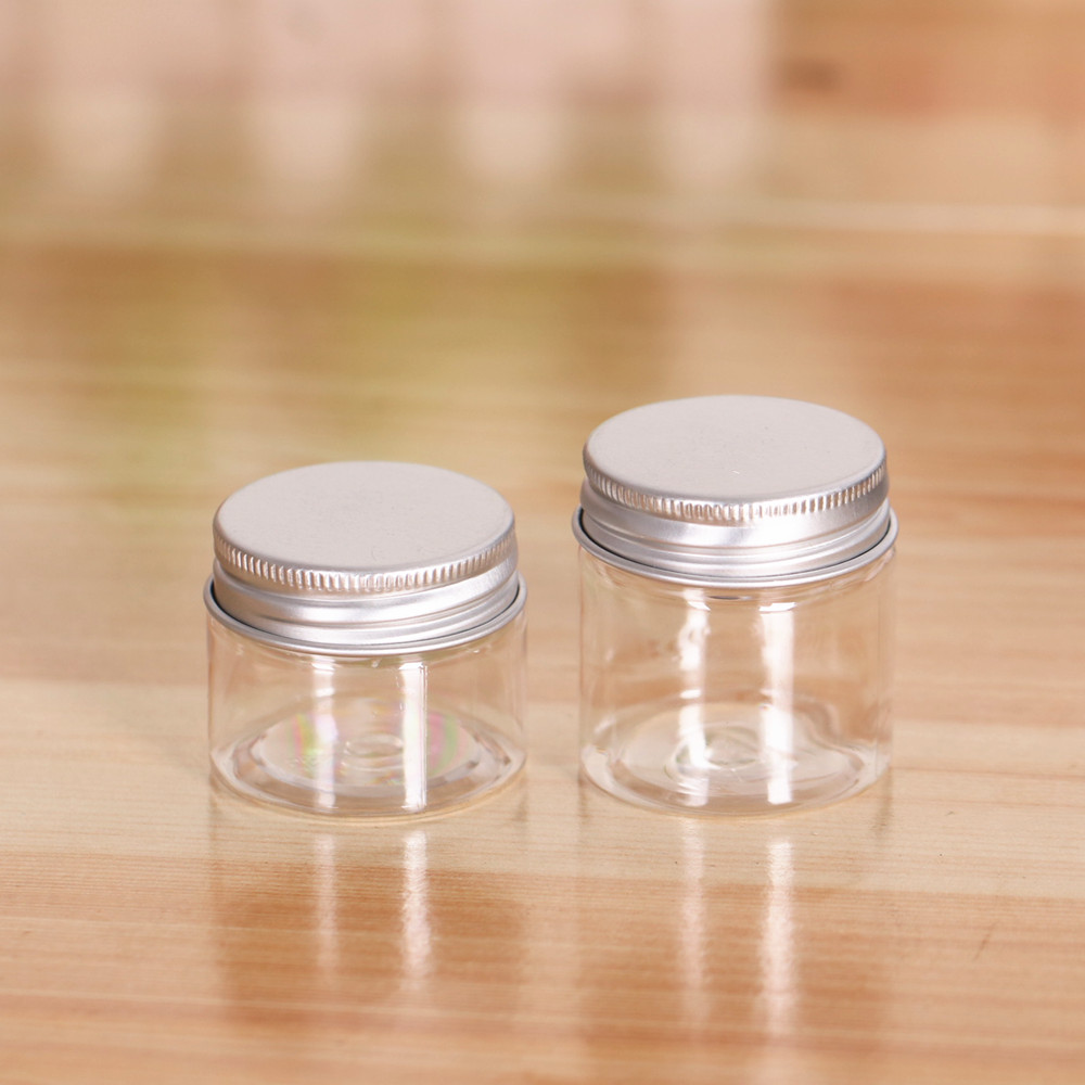 50Pcs 20g 30g 20ml 30ml Aluminium Cap Clear Cream Container Jar Plastic Jar Transparent Candy Bottle