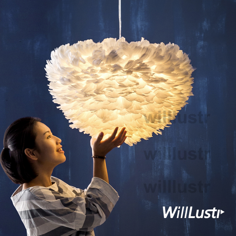 Willlustr white feather lamp large pendant light Cord Suspension lighting Dinning Room Bar Cafe Restaurant bedroom nordic art brokis design replica lighting shadows lamp modern glass pendant light bedroom sitting room restaurant cafe bar suspension