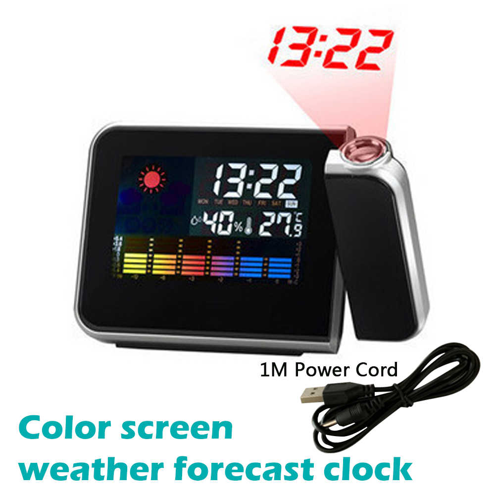 LED Digitale Projectie Wekker Temperatuur Thermometer Desk Tijd Datum Display Projector Kalender USB Charger Tafel Led Klok