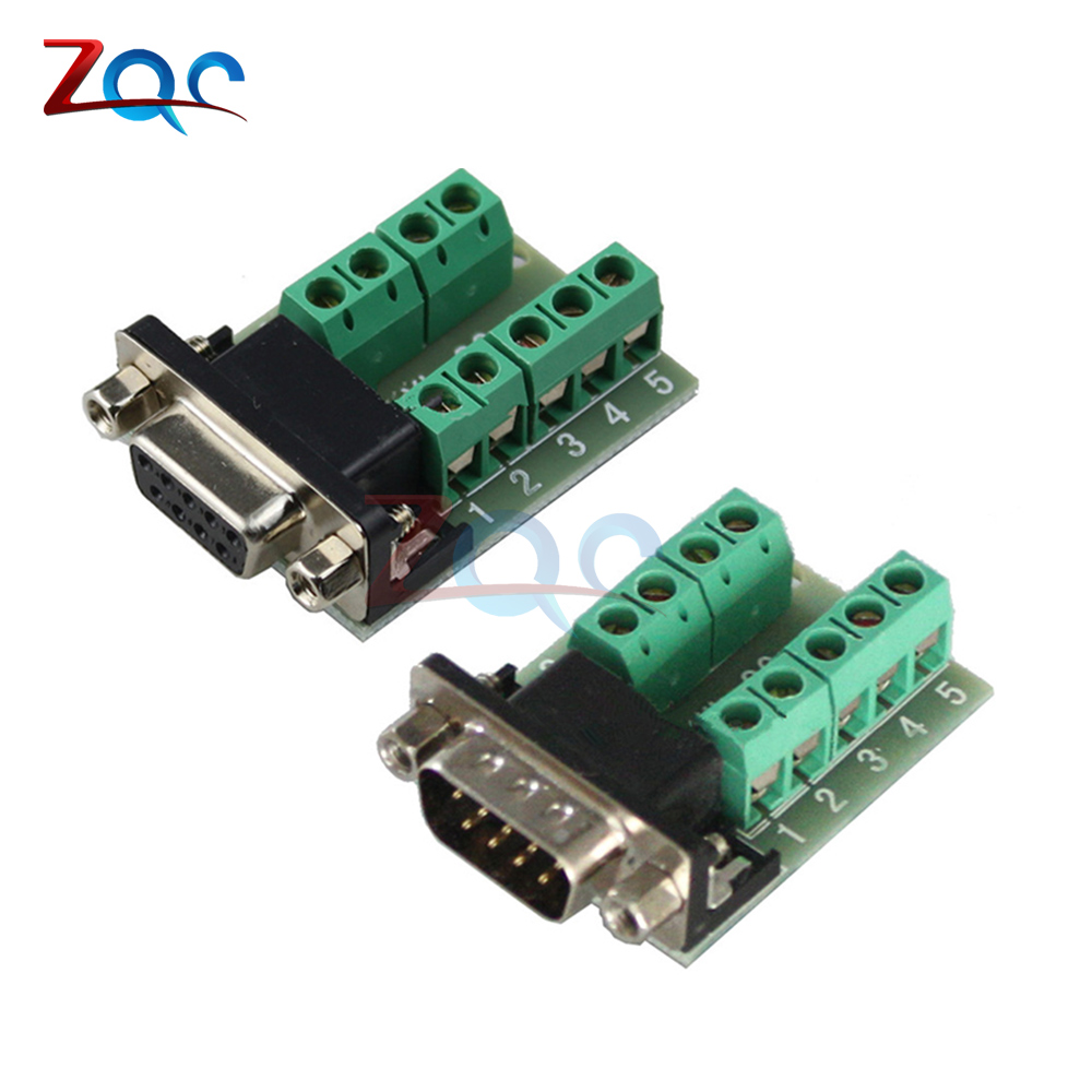 DB9 Male Female Adapter Signals Terminal Module RS232 Serial To Terminal DB9 Connector d sub connectors db25 25pin female adapter board rs232 serial to terminal signal module