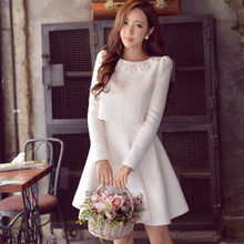Original New Arrival 2016 Brand Autumn and Winter Korean Plus Size Elegant Women Sets Top and Dress Woolen Wholesale