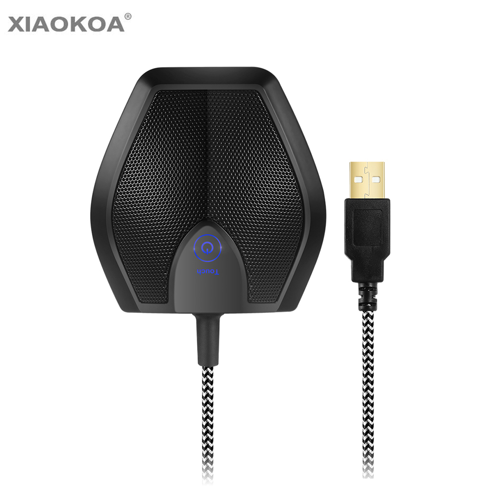 Professional USB condenser microphone Desktop microphone for computer wired tabletop pc microfon for Studio Speech XIAOKOA tyless usb plug computer tabletop omnidirectional condenser boundary conference microphone for recording gaming skype voip call