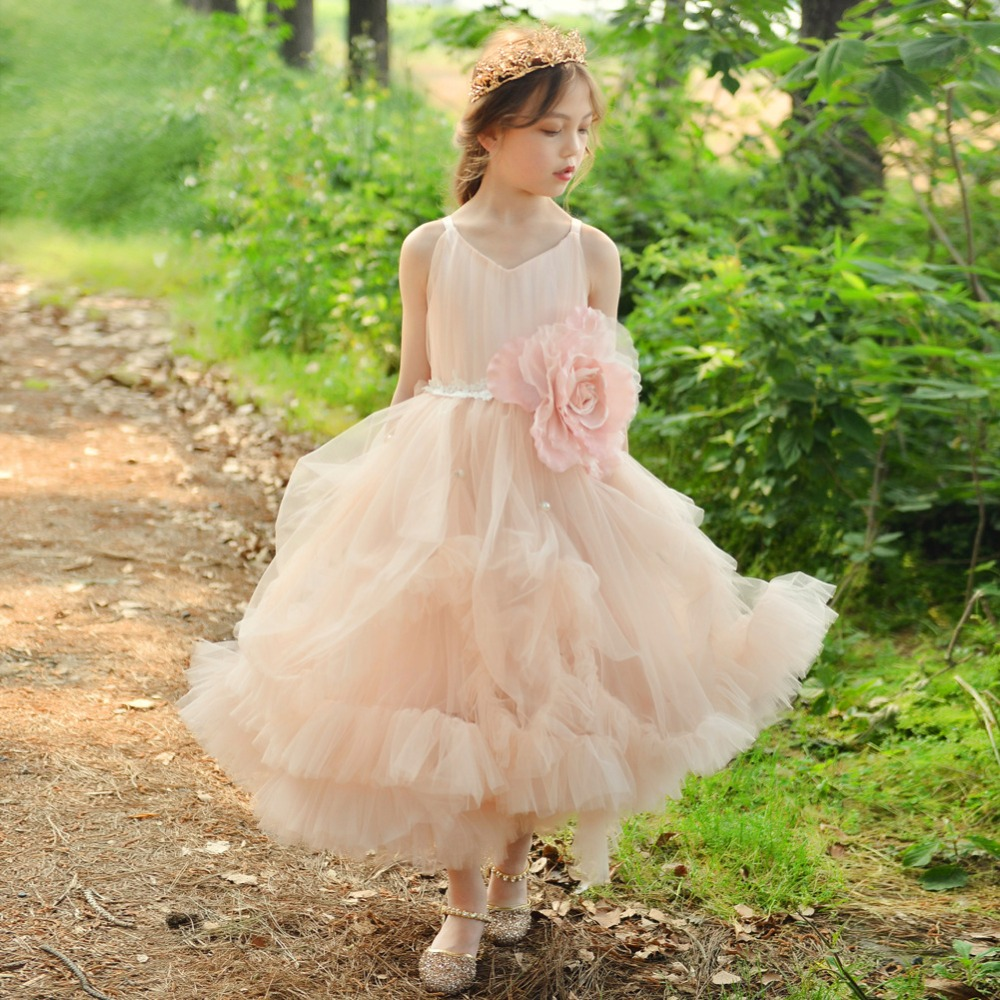 Cloud Flower Girls Dress Sleeveless Birthday Ball Gown Princess Dress Girl Dresses Tulle Applique Party Vestidos Princess AA211