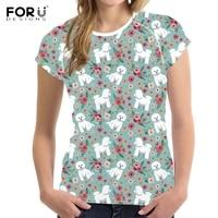 FORUDESIGNS Cute Bichon Frise Flower Print Women Summer T Shirts Fashion Harajuku Teen Girls T shirts Bodybuilding Short Sleeves