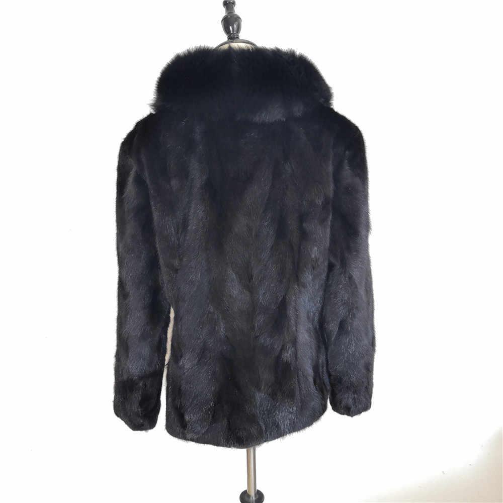 Frauen Winter Natürliche Nerz Pelzmantel Echte Fuchs Pelz Kragen frauen 2018 Mode Warme Natürliche Nerz Weibliche luxus Jacke Jacke