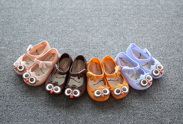 Mini Melissa Girls Jelly Sandals Kids Sandals Princess Shoes Cartoon Rain Shoes Children Sandals PVC Soft Outsole