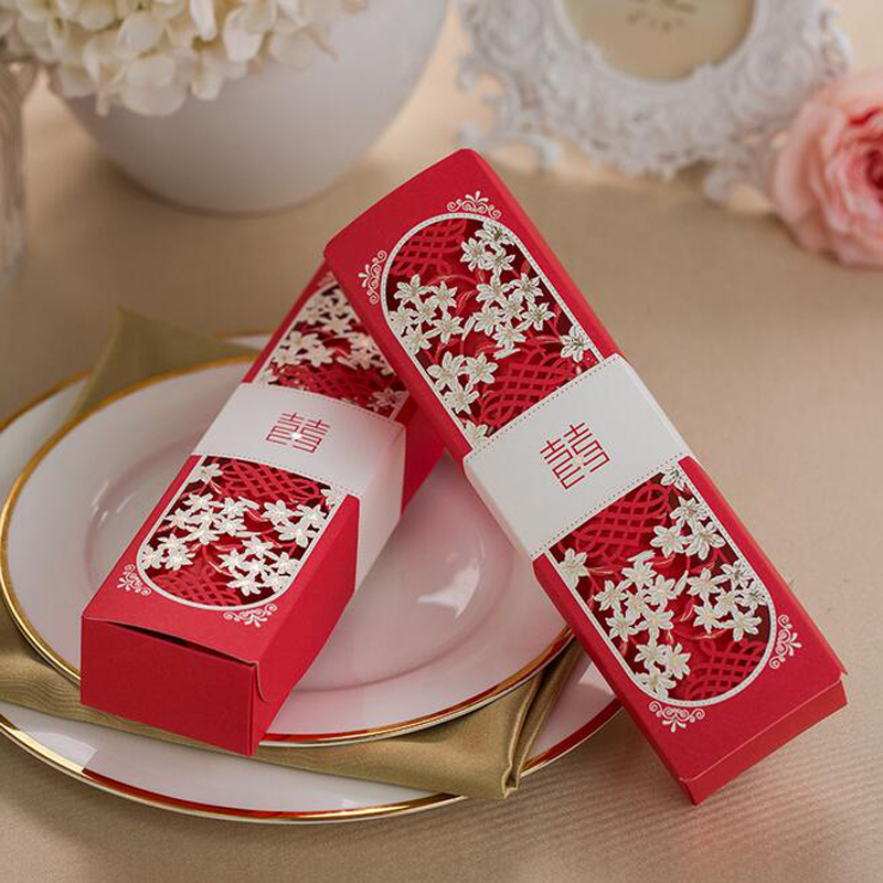 50pcs Red Scroll Laser Cut Box Packed Wedding Invitation Card With Butterfly Knot Customizable Marriage Wedding