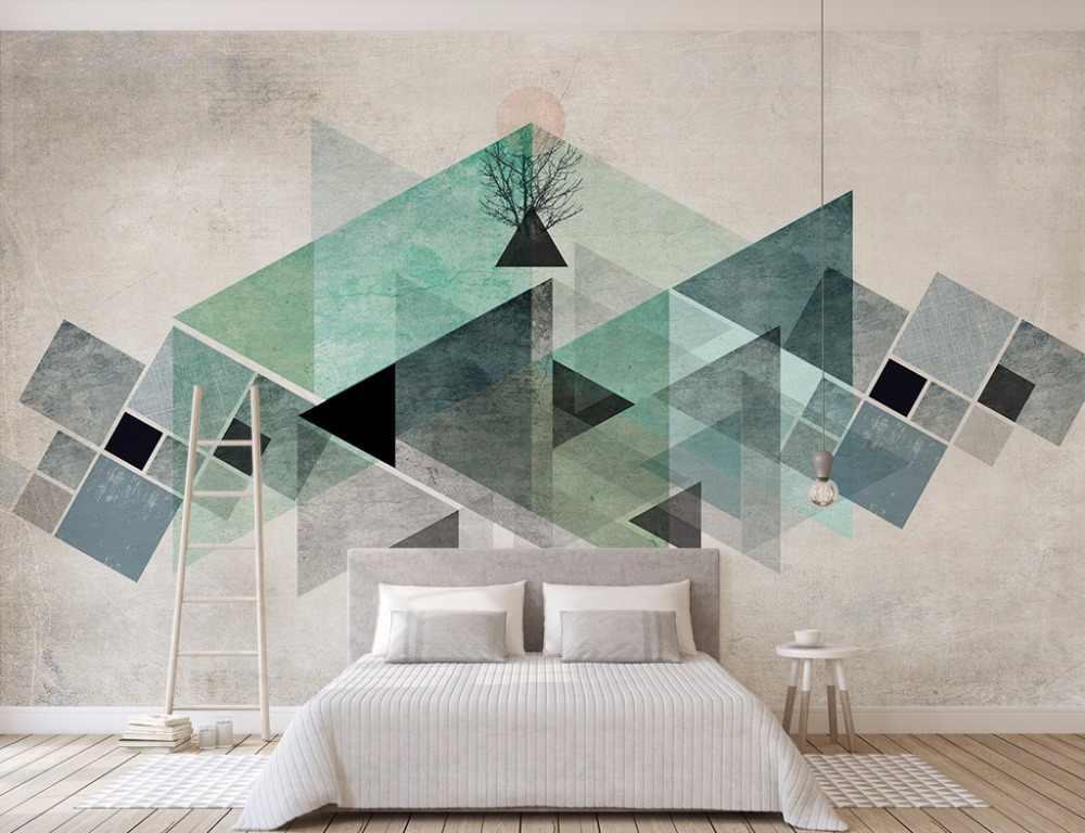 Bacaz Пользовательские Фото Обои фреска 3D винтажная зеленая Геометрическая настенная бумага абстрактное настенное покрытие Papel де Parede 3D наклейки на стену