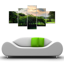 5 panel Green Forest HD Canvas Print Painting Artwork Modern Home Wall Decor Art Picture On Prints Framed