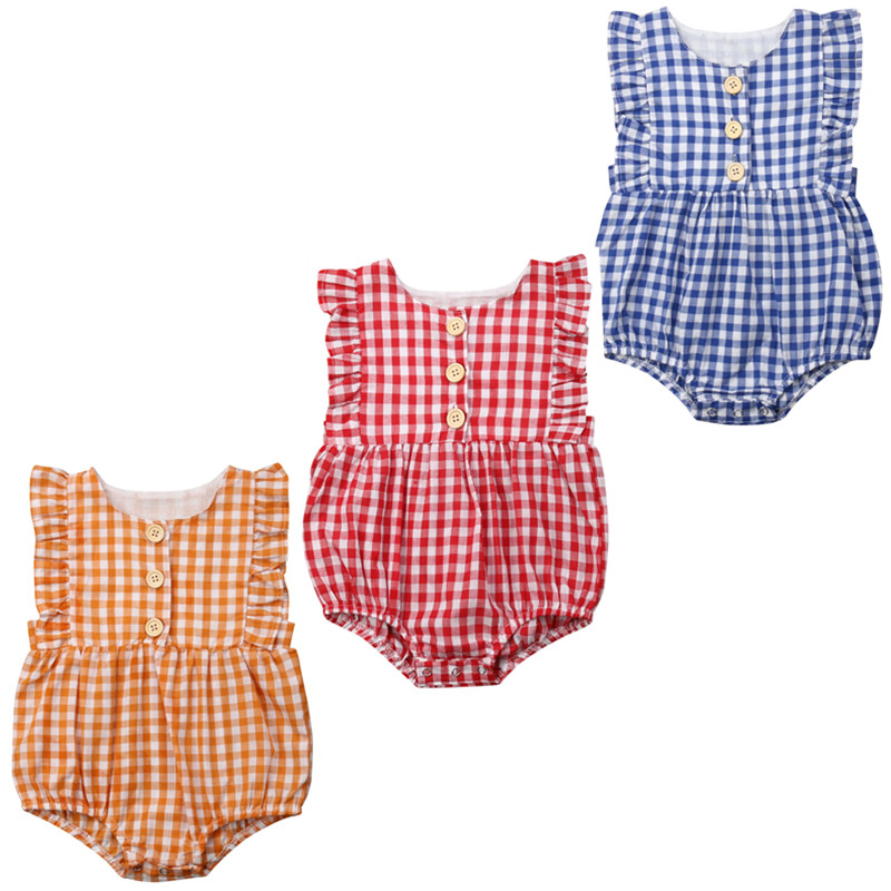 Tops Newborn Baby Girls Plaid Sleeveless   Romper   Sleeveless Outfits Summer Clothes