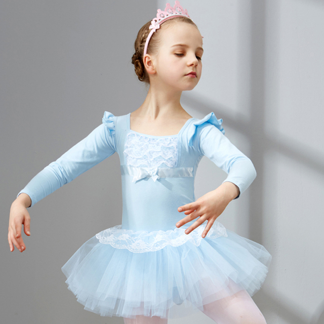 22fc09194d 2018 Nova Menina Vestido De Dança Ballet Crianças Roupa Azul Rosa lace Top  Princesa Vestido