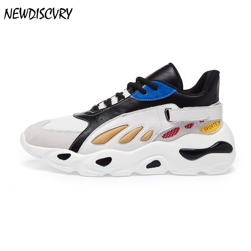 NEWDISCVRY Mesh Women Platform Chunky Sneakers 2019 Fashion Designer Women's Dad Shoes Comfortable Woman Thick Soled Trainers-in Women's Flats from Shoes    1