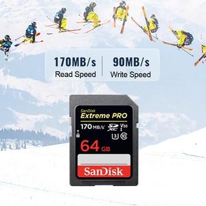 Image 4 - Oryginalny nowy SanDisk ekstremalny profesjonalista karta SD 64GB 128GB 256GB 170 MB/s Carte SD SDXC Class10 C10 U3 V30 4K UHD dla karty SD aparatu