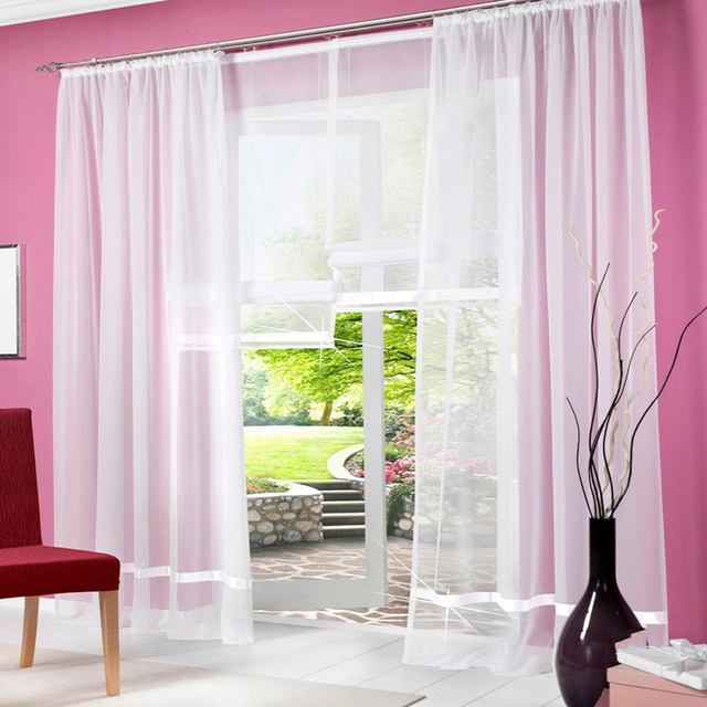 Sheer white curtains for living room modern voile tulle for window ...
