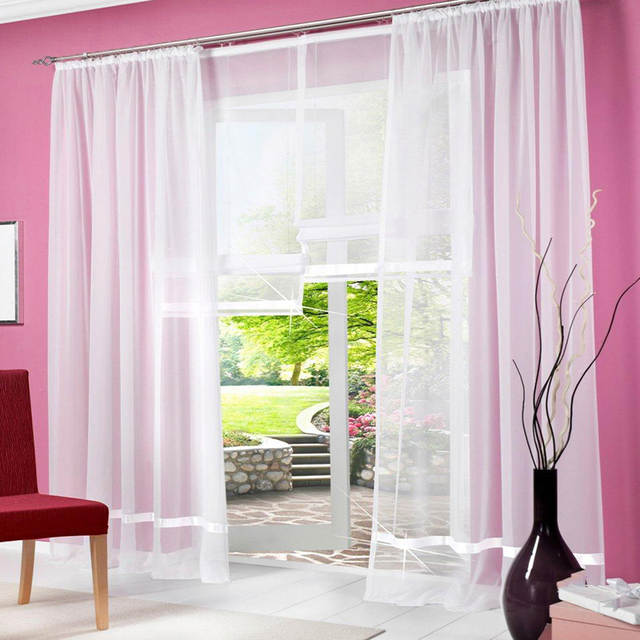 Sheer White Curtains For Living Room Modern Voile Tulle For Window