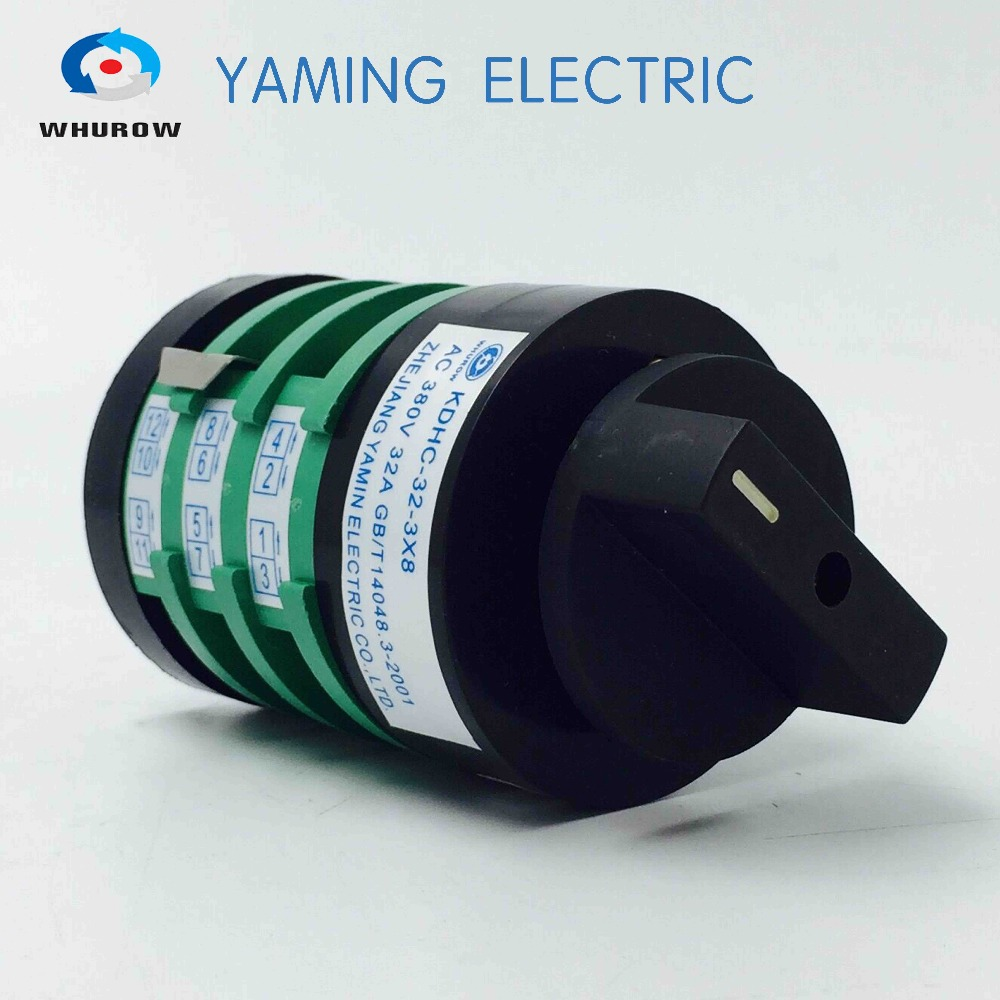 Yaming Electric Selector Rotary Switch KDHC-32/3X8 380V 32A 3 knots Welder transformer Welding machine switch welder switch 15a 8 phases 11 position 11 brass feet each pole welding machine rotary selector switch khs 11w8d