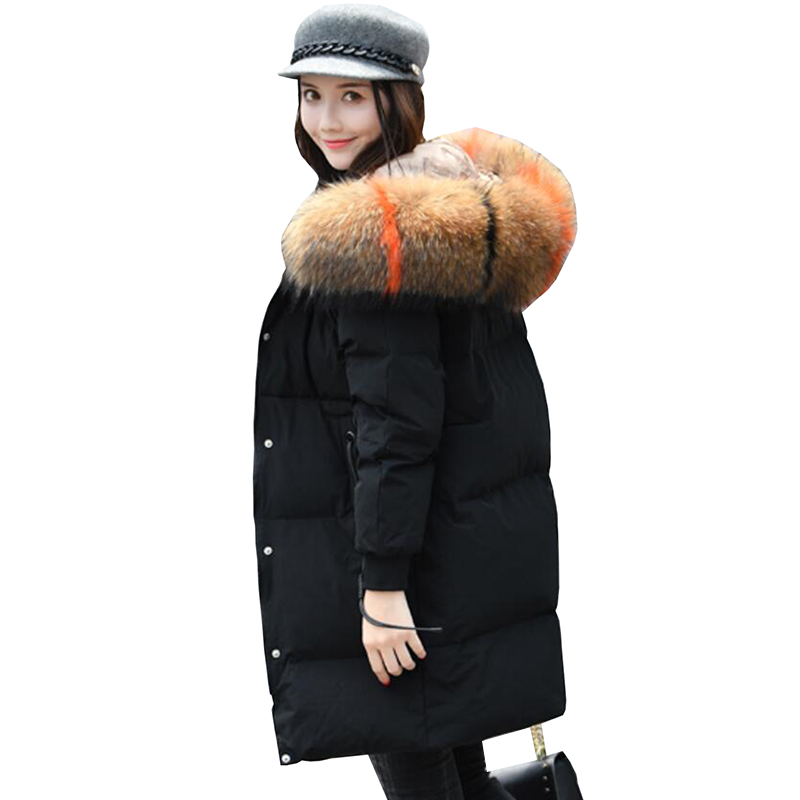 90% White Duck   Down   Jacket 2018 Female Parkas Winter Jacket Women Slim Thicken Natural Raccoon Fur Collar Long Hooded   Down     Coat
