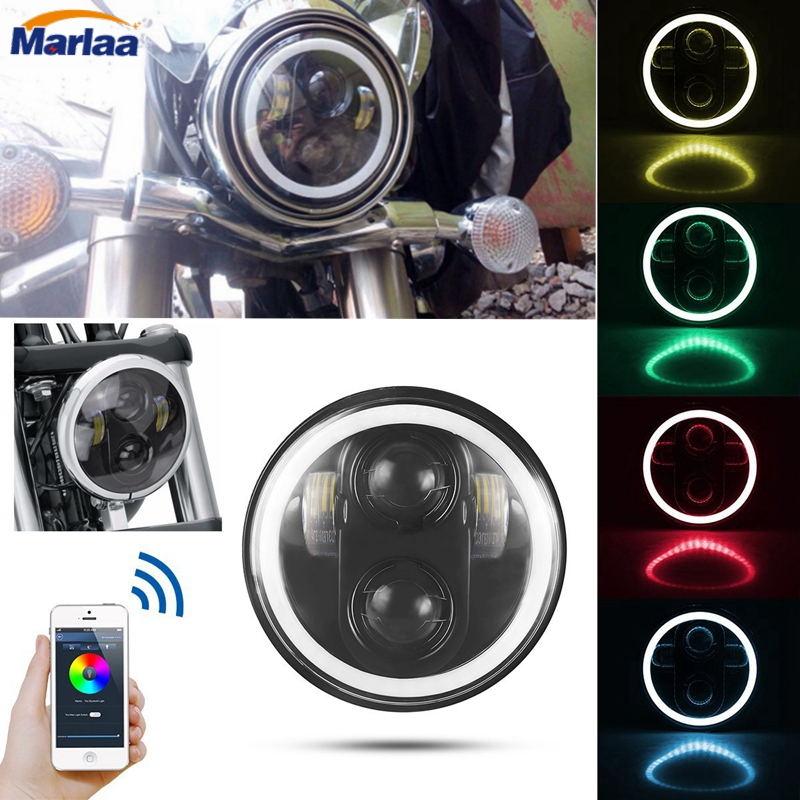 5-3/4 5.75 Round LED Projection Daymaker Headlight RGB Halo DRL with Bluetooth APP Remote  for Harley Davidson Motorcycle