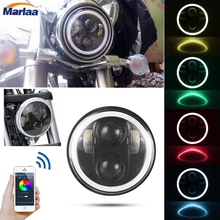 5-3/4″ 5.75″ Round LED Projection Daymaker Headlight RGB Halo DRL with Bluetooth APP Remote  for Harley Davidson Motorcycle