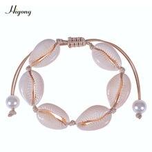 HIYONG Natural Cowrie Shell Bracelet Handmade Adjustable Boho Seashell Bracelet/Anklet Beach Jewelry Gifts for Women Girls