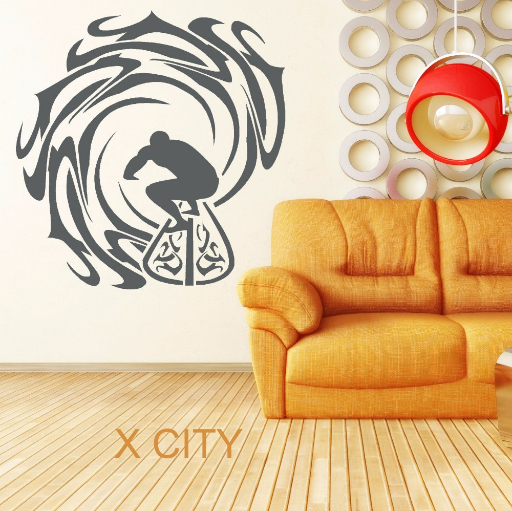 SURFER AND WAVES Creative Surfing Sea Sport Ocean Vinyl Wall Decal ...