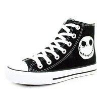 De Nightmare Before Christmas Stijlen Canvas Schoenen Speciale Lichtgevende Schedel Jack Handgeschilderde Schoenen Zwart Hoge Top Mannen Sneakers