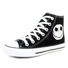 341cbfef7 كابوس قبل عيد الميلاد أنماط حذاء قماش خاص مضيئة الجمجمة جاك اليد رسمت أحذية  أسود عالية أعلى الرجال أحذية رياضية