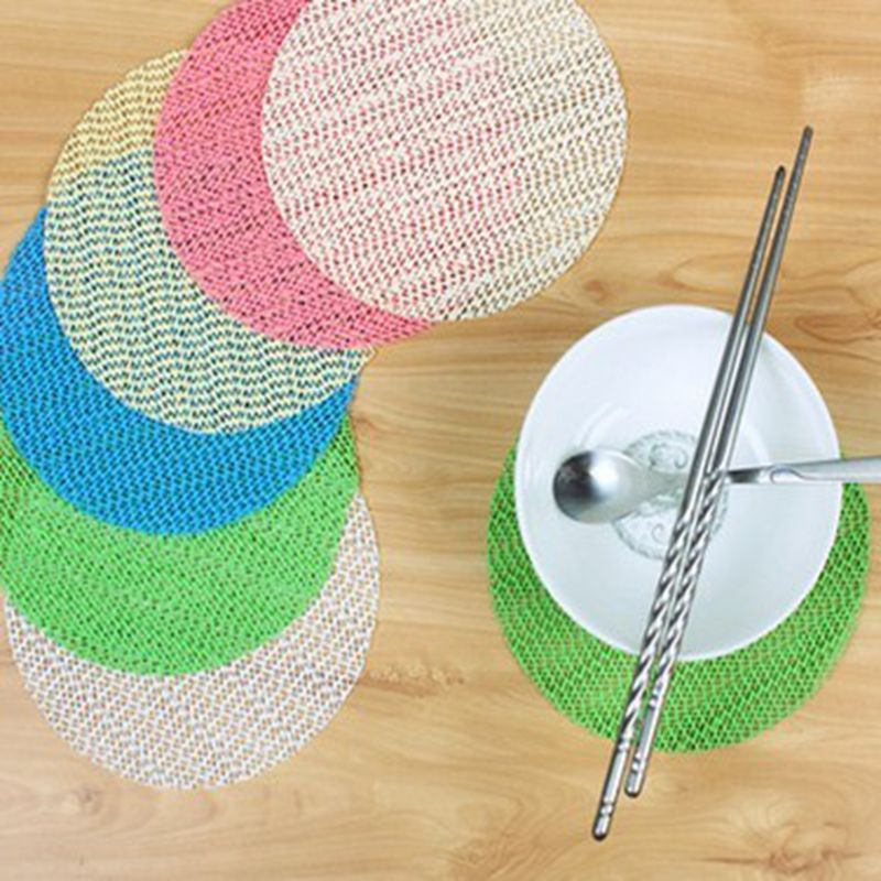 Creative high - quality PVC tableware round bowl cup mat mat non - slip insulation pad 6 pieces of equipment