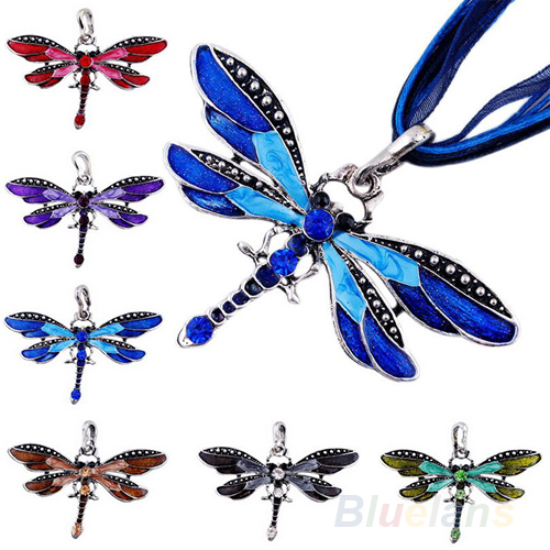 Fashion Dragonfly Charms Necklace With Chain Rhinestone Inlay Gemtone 1GNP