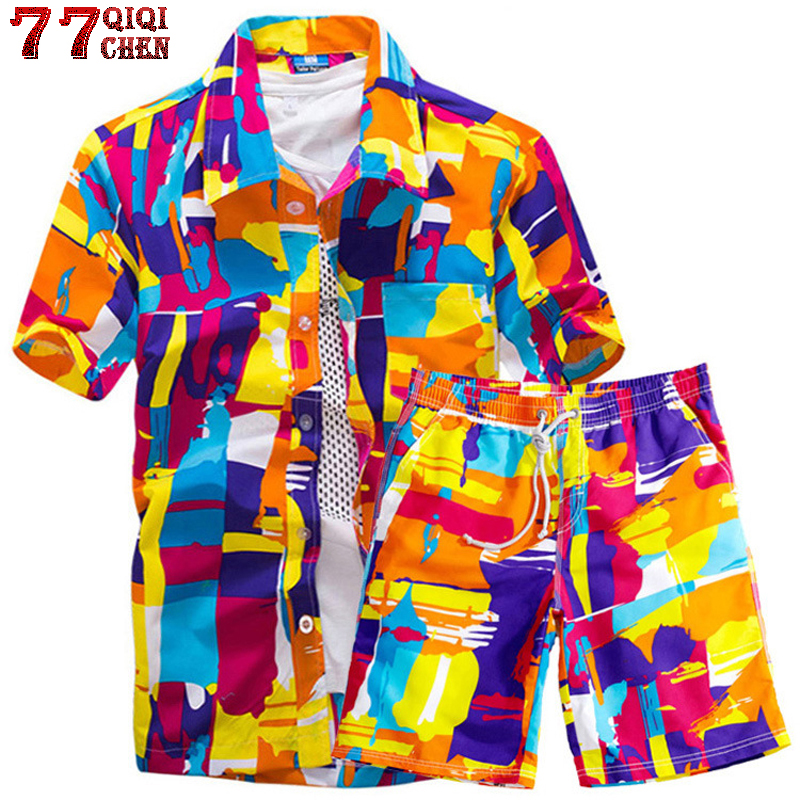 Mens Hawaiian Shirts Set Summer Floral Shirts Men +Print Beach Shorts Short Sleeve Tracksuit 2020 Fashion 2 Piece Sets Male