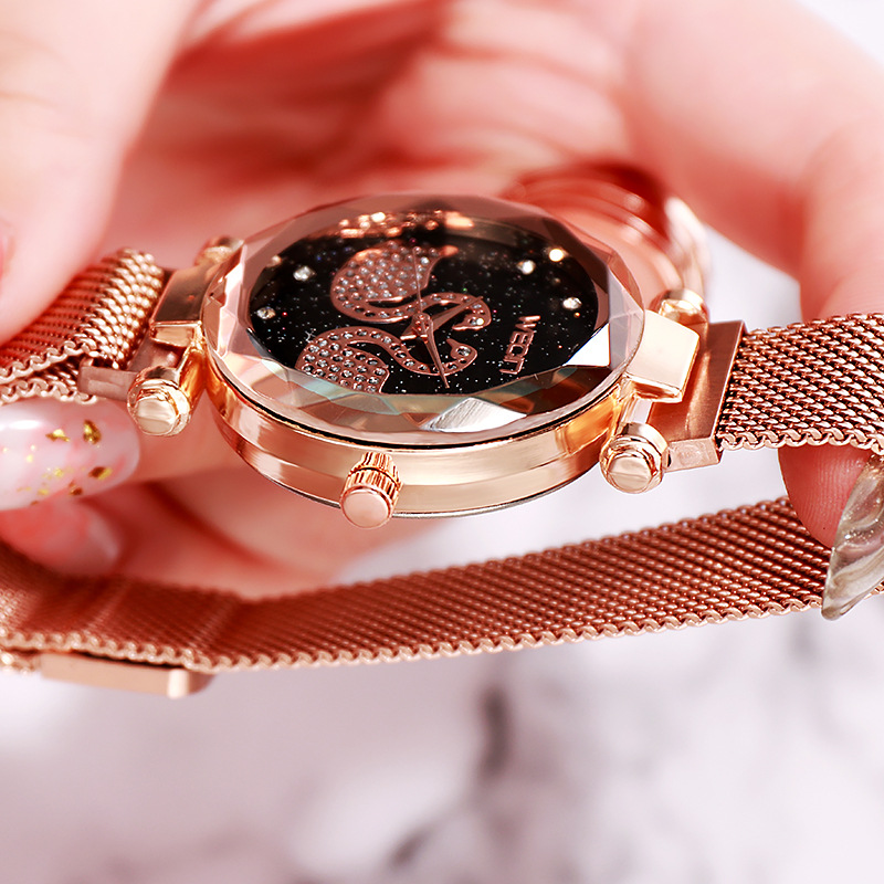 Fashion Crystal Watch Women Quartz Magnetic Starry Sky Watch Luxury Brand Rhinestone Rose Gold Ladies Bracelet Clock Reloj Mujer in Women 39 s Watches from Watches