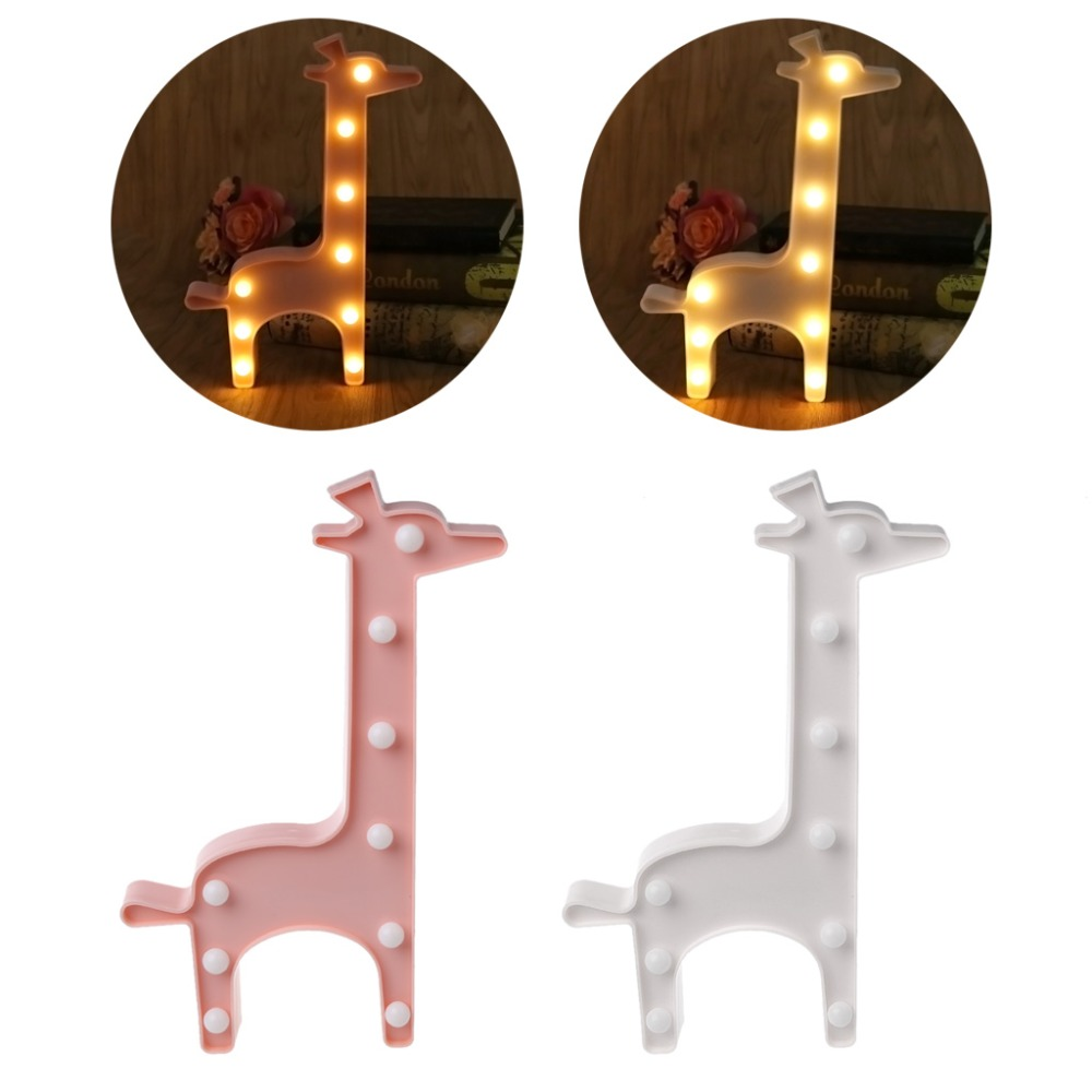 3D Marquee Giraffe Table Lamp 9 LED Battery Operated Night Light Children's Room Decor Indoor Lighting