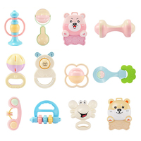 8 10 12 Pcs Newborn Infant Babys Teether Rattles Environmental Protecting Learning Toys Hand Jingle Shaking