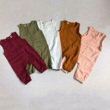 Summer Newborn Infant Linen Sleeveless Baby Boy Girl Romper O-Neck Jumpsuit Playsuit Outfits