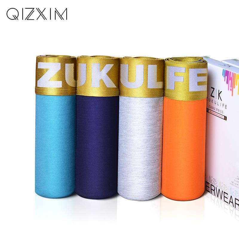 QIZXIM 2018 Men Underwear Soft Modal Boxers Man Breathable Underpants 3D Fashion Plus Size Boys Undershorts Soft Cotton Crotch