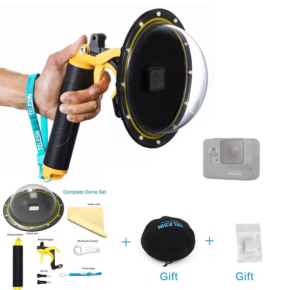 TELESIN dôme Port couvercle boîtier de lentille poignée flottante poignée Bobber pour GoPro Hero 5 6 Hero 7 accessoires de caméra d'action