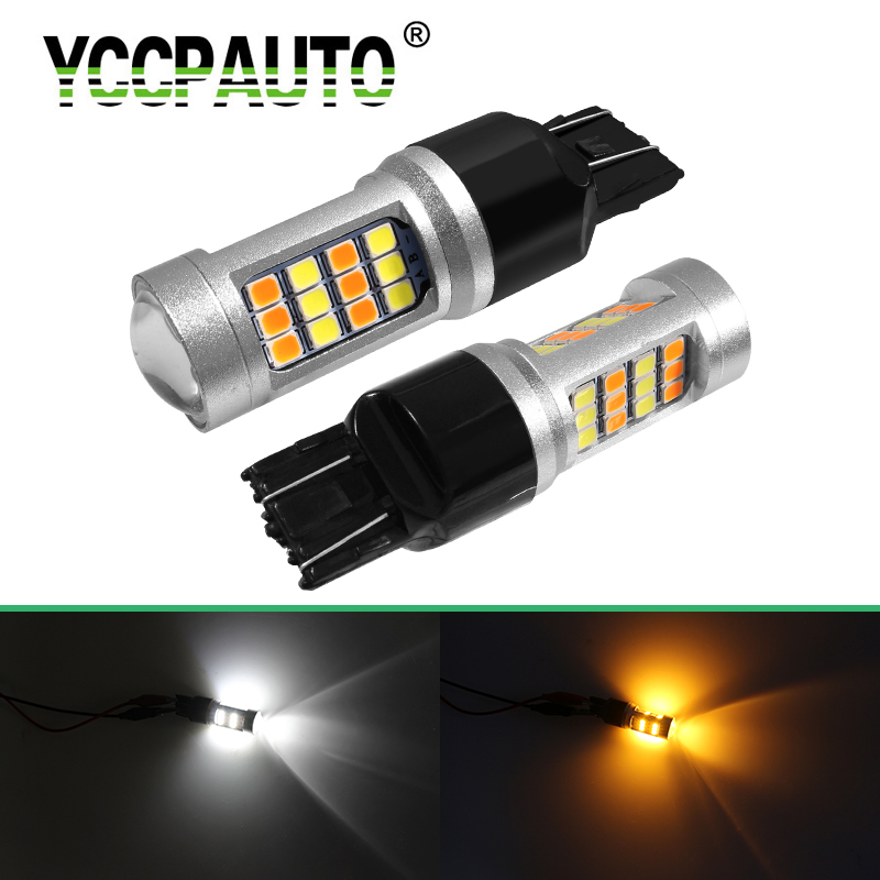 YCCPAUTO 2Pcs 1157 BAY15D <font><b>T25</b></font> T20 <font><b>LED</b></font> Bulbs P21/5W P27/7W W21/5W Dual Color Light White Yellow Car <font><b>LED</b></font> Parking Turn Signal Lamp image